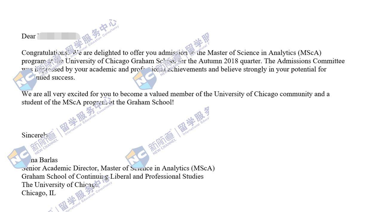 功夫不负有心人,成功获得芝加哥大学分析学专业offer