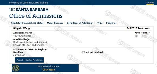 SAT成绩不高,成功获得加州大学圣芭芭拉分校不定专业offer
