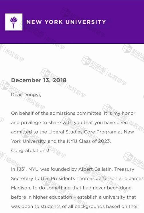 软件条件突出,成功获得纽约大学Liberal Studies专业offer