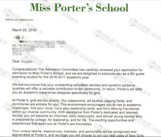 提前规划挖掘自身特点,成功获得波特女子高中offer