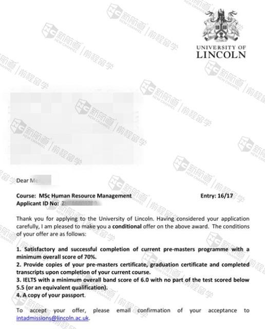 林肯大学人力资源管理专业offer