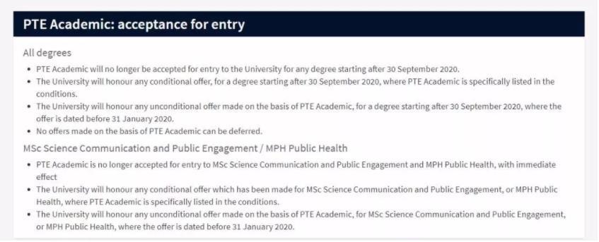 2020年爱丁堡大学最新通知,两个硕士专业申请不再接受PTE成绩!