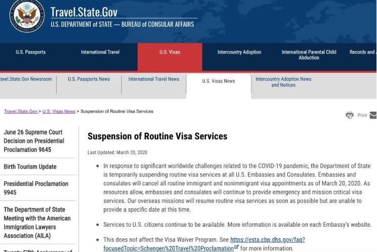 美国暂停所有常规签证服务 多所美国大学取消/推迟毕业典礼